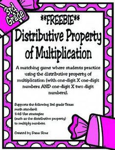FREEBIEA matching game for students to practice using the distributive property of multiplication. Distributive Property Of Multiplication, Math Multiplication, Maths Algebra, Math Properties, Properties Of Multiplication, Math Strategies, Math Resources, Fourth Grade Math, Math Intervention