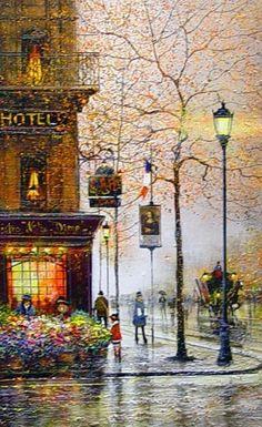 """Guy Dessapt """"Paris, Notre Dame"""" Original Oil, Alessandro's Galleria"""