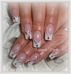 French ♥ mit Swarovskis - Minimal - French ♥ mit Swarovskis – You are in the right place about nail art for - Nail Tip Designs, French Nail Designs, Beautiful Nail Designs, Beautiful Nail Art, Acrylic Nail Designs, Acrylic Nails, Art Designs, Rhinestone Nails, Bling Nails