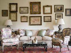 Artwork arrangement, lamps, antiques - Brooke Astor's home