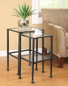 Nesting Tables 2 Piece Glass and Metal
