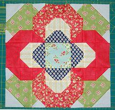 pieced flower quilt block