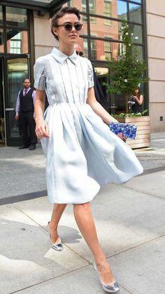 Keira Knightley A Line Dress 2017 Street Style