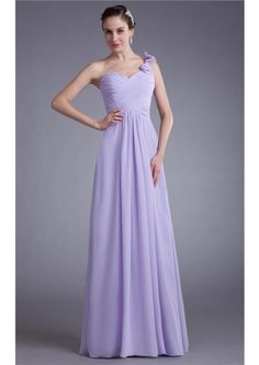 One Shoulder Zipper A-line Sleeveless Lilac Floor Length Chiffon Ruched Bridesmaid Dresses