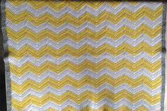 crochet gray and yellow baby blanket   Crochet Baby Blanket Yellow, Grey and White