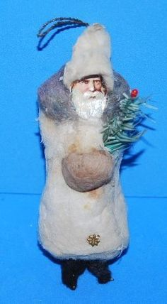 Antique German Cotton Scrap Belsnickle Santa Ornament w Feather Tree | eBay