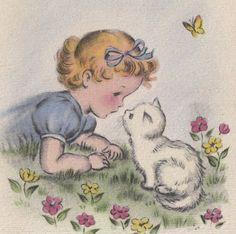 Images Vintage, Vintage Cat, Vintage Pictures, Vintage Greeting Cards, Vintage Postcards, Cat Cards, Vintage Valentines, Vintage Children, Vintage Prints
