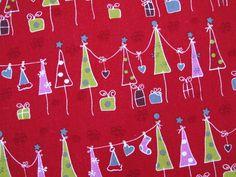 Stoff Weihnachtsstoff rot Tannenbaum von HE-RO Stoff auf DaWanda.com