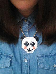 Hama Bead Panda Necklace by JonesStreetStudios on Etsy