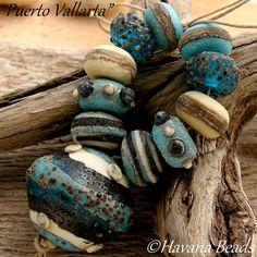 PUERTO VALLARTA - Handmade Glass Lampwork Bead Set with Hollow Focal Bead by HavanaBeads.etsy.com