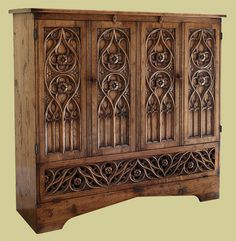 Hand carved oak tracery TV cabinet, in the Flamboyant period style Oak Tv Cabinet, Tv Cupboard, Tv Stand Cabinet, Tv Cabinets, Furniture Layout, Furniture Design, Interior Design Classes, Tv Armoire, Hollywood Hills