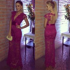 Hot Sexy Purple Evening Dresses Deep V Neck Lace Prom Dresses 2015 Appliques Full Length Sheer Backless Party Gowns Custom Made Online with $117.28/Piece on Ballydress's Store | DHgate.com