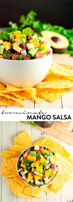 Two-Minute Mango Salsa - via A Simple Pantry - Combine Del Monte Diced Mango with your favorite salsa ingredients for a quick and easy snack or appetizer. Seriously, only 2 minutes!