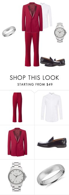 """Men's red wedding"" by kayti284breezete ❤ liked on Polyvore featuring ADAM, Topman, Bally, Gucci and Blue Nile"