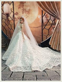 phakhapapha--677 Fashion royalty FR2 Princess Lace Wedding Gown Outfit for dolls 12