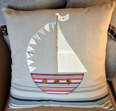 Applique Boat Nautical Cushion Pillow with by AudaciousTextiles. $39.50, via Etsy.