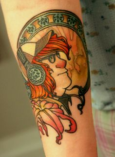 My Alphonse Mucha inspired tattoo  My artist is Perry from Splash of Color in East Lansing, MI.