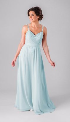 This gorgeous long chiffon bridesmaid dress has a flattering v-neckline with spaghetti straps that flow into a fun, unique back.