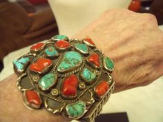 Large-Vintage-Native-American-Sterling-Silver-Turquoise-Coral-Cuff-Bracelet