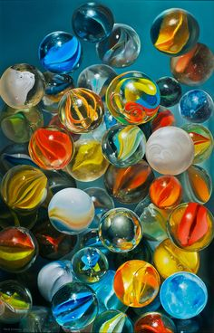 Knikkers, 2011 (hyperrealistic oil painting) by Tjalf Sparnaay