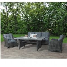 AuBergewohnlich Milwaukee Dinner Lounge Set 4 Teilig Geflecht Earl Grey