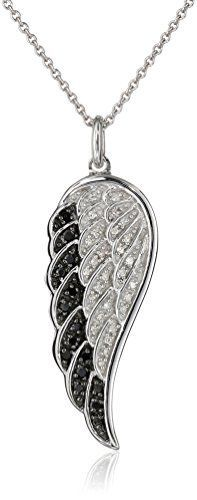 Sterling Silver Black and White Diamond Angel Wing Pendant Necklace (1/5 cttw), 18″by Amazon Curated Collection