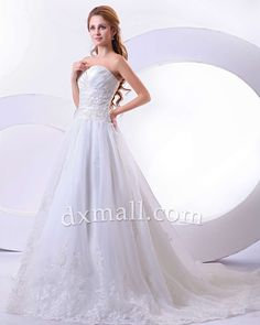 Drop Waist Wedding Dresses Sweetheart Chapel Train Organza Satin Ivory 010010700288