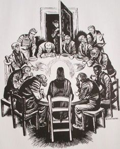 """Fritz Eichenberg's """"The Lord's Supper."""" Eichenberg was a friend of Dorothy Day, and his depiction of the Last Supper echoes the scene at a Catholic Worker soup kitchen, with those hosted at the table being the poor and outcast. Religious Images, Religious Art, Last Supper Art, Lino Art, Lords Supper, Dorothy Day, Biblical Art, Faith Bible, Sacred Art"""