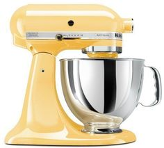 Kitchenaid Artisan Mixer. Pastel yellow.