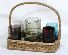 Kuvahaun tulos haulle saara hopea Picnic, Nostalgia, Basket, Dishes, Glass, Design, Drinkware, Tablewares, Corning Glass