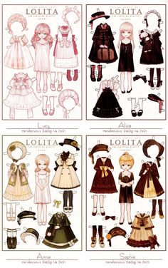 -Lucy -Alice- Anna- Sophie Little Paper Dolls from LOLITA Artist syalgu -Lucy -Alice- Anna- Sophie Little Paper Dolls from LOLITA Artist syalgu The post -Lucy -Alice- Anna- Sophie Little Paper Dolls from LOLITA Artist syalgu appeared first on Paper Ideas. Fashion Design Drawings, Fashion Sketches, Poses, Moda Lolita, Paper Dolls Printable, Anime Dress, Vintage Paper Dolls, Drawing Clothes, Paper Toys