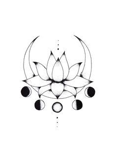 Sailor Moon Inspired Lotus Flower & Crescent Moon Line Art