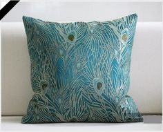 "Sapphire Blue 18""x18"" Peacock Design - Elegant Decorative Throw Pillow Cover by Fablegent, Washable. http://www.amazon.com/dp/B008GPZ6NC/ref=cm_sw_r_pi_dp_d9TNqb1FY9HAB"