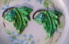 N929J Vintage Leaf Findings Stampings Hand by purpleviolets77