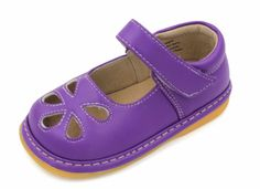 Squeaky Shoes | Purple Flower Punch Toddler Girl Mary Jane