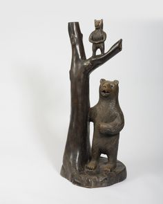 English carved limewood bear and cub. sculpture, woodland, animal, tree, wood, wooden
