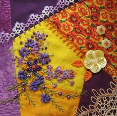 Wonderful Ribbon Embroidery Flowers by Hand Ideas. Enchanting Ribbon Embroidery Flowers by Hand Ideas. Crazy Quilt Stitches, Crazy Quilt Blocks, Patch Quilt, Crazy Quilting, Quilting Ideas, Rose Embroidery, Silk Ribbon Embroidery, Hand Embroidery Patterns, Quilt Patterns