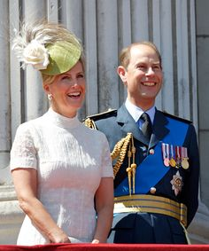 Sophie, Countess of Wessex and Prince Edward, Earl of Wessex watch a flypast of Spitfire & Hurricane aircraft from the balcony of Buckingham Palace to commemorate the 75th Anniversary of The Battle of Britain on July 10, 2015 in London, England.