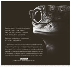 Humorous copy and clever way to differentiate from other car insurance companies. The very image of a gecko wearing glasses is intriguing and the overall image is aesthetically pleasing.