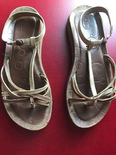 Womens Chaco Native Eco Tread Brown Leather Ankle Wrap Sandals Size US 8 #Chaco #FlipFlops #Casual