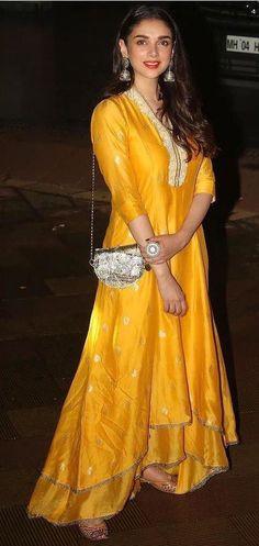 Aditi Rao Hydari in a yellow Anarkali suit by Myoho for Ganesh Chathurthi Trendy Dresses, Simple Dresses, Nice Dresses, Indian Wedding Outfits, Indian Outfits, Dress Wedding, Indian Attire, Indian Wear, Kurta Designs
