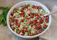 Israeli couscous salad with tomatoes and cucumbers