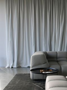 sofa, curtain, rug and floor - room in grey