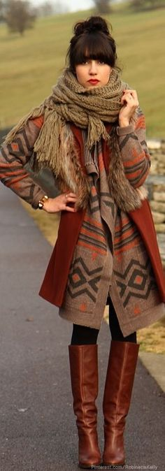 All brown bohemian chic look. | Bohemian Style