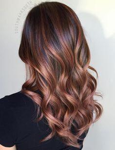 Dark Brown Hair With Coppery Caramel Balayage