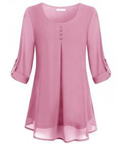 Buy Women's Roll-up Long Sleeve Round Neck Layered Chiffon Flowy Blouse Top . Buy Women's Roll-up Long Sleeve Round Neck Layered Chiffon Flowy Blouse Top - Pink - and shop more l Blouse Styles, Blouse Designs, Chiffon Tops, Chiffon Blouses, Chiffon Shirt, Blouses For Women, Ladies Blouses, Ideias Fashion, Tunic Tops