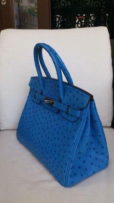 Blueberry Ostrich Hermes Birkin. Blue bag.