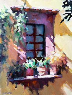 Courtyard Window by Trisha Adams Oil ~ 16 x 12