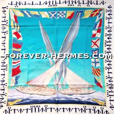 The human fascination with #Turquoise #Ocean the tropical paradise, vacation, #travel #Sea #Yachting #Caribbean #BoraBora #Tahiti and other gorgeous places of our planet: artist Yannick Manier creates for Hermes Paris this #silk canvas titled En Course, now in our store http://forever-hermes.com #ForeverHermes featuring a yachting competition in stunning & delicate detail. #nautical #vessel #ship #boat #sailboat #sailing #mensfashion #MensSuit #mensnecktie #womensfashion #HermesParis…