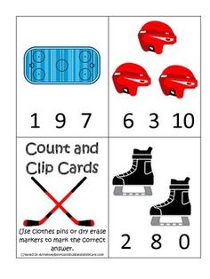 Hockey Sports themed Math Numbers Clip it Cards preschool educational game. Winter Activities For Kids, Math For Kids, Christmas Activities, Kindergarten Math, Preschool Activities, Educational Games For Preschoolers, Math Numbers, Numbers Preschool, Hockey Games